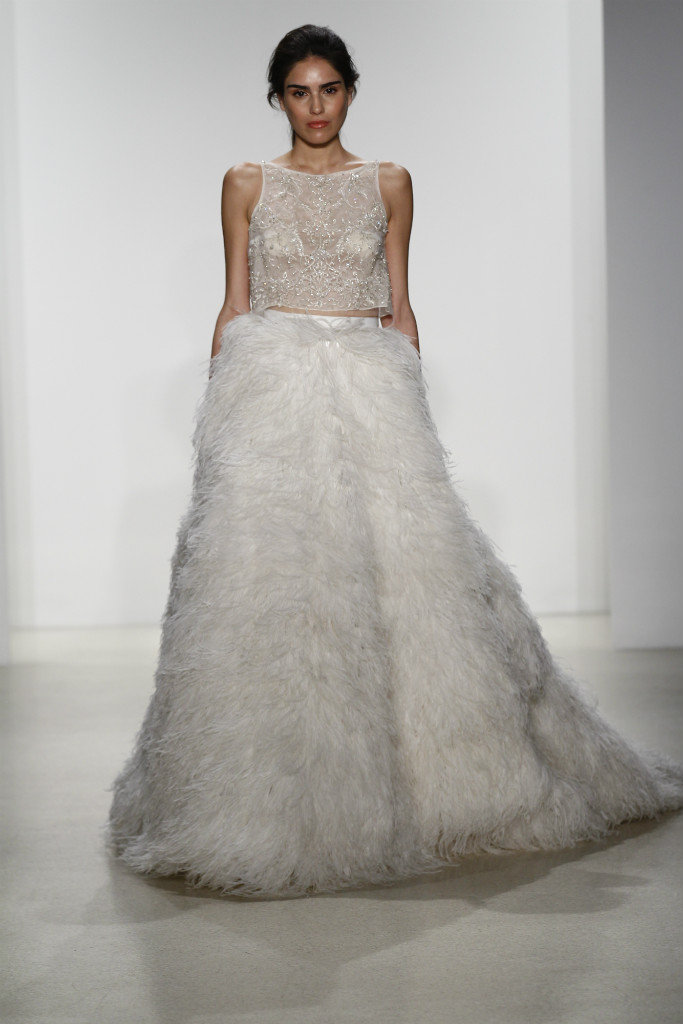 Feather skirt and crop top wedding dress by Kelly Faetanini