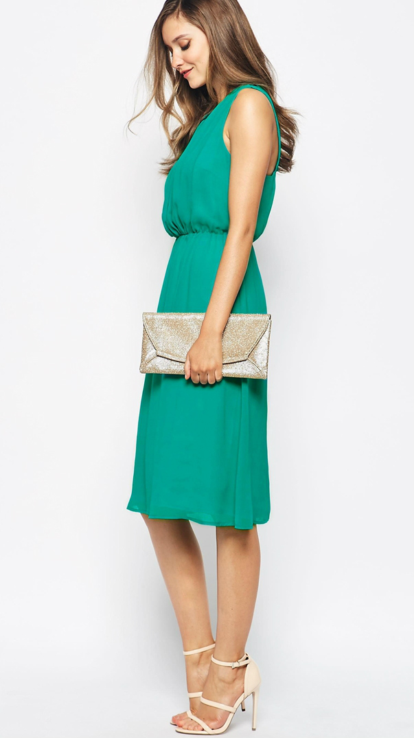 Green wedding guest dress