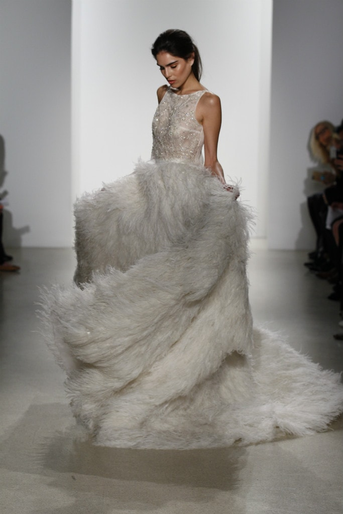 Kelly Faetanini Crop Top Feather Skirt Wedding Gown