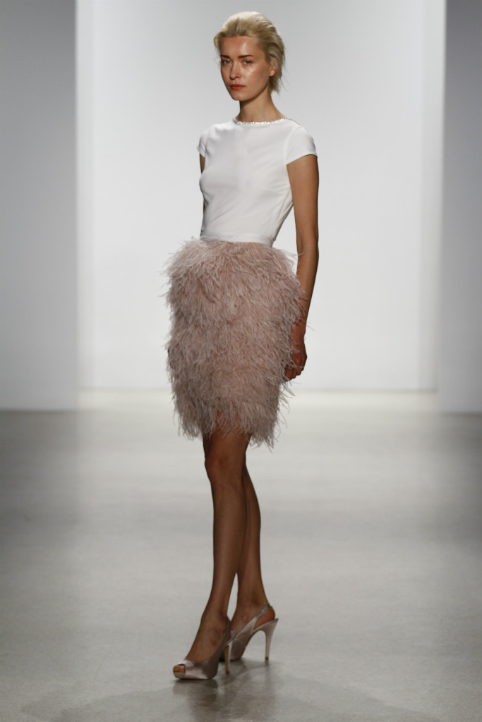 Kelly Faetanini Short Wedding Dress with Blush Feather Skirt