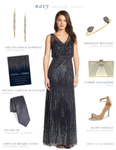 Navy Blue Beaded Dress for a Wedding