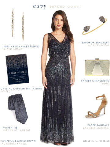 Navy blue beaded gown for a wedding