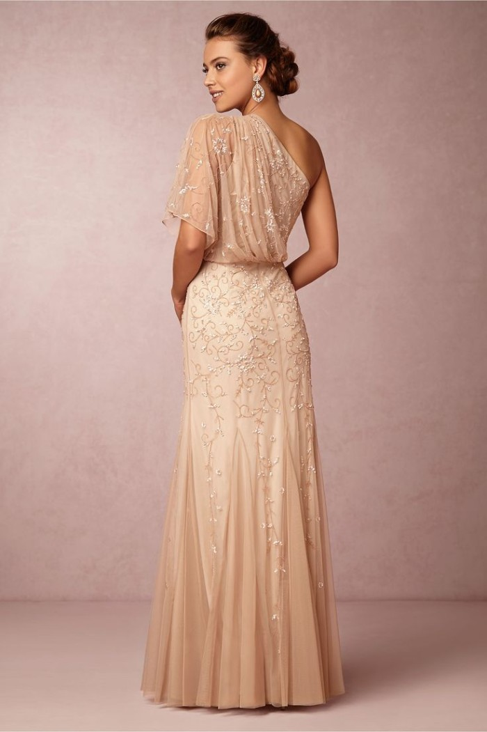 One shoulder beaded blush gown