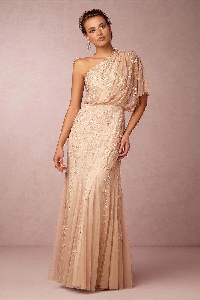 One shoulder beaded blush mother of the bride gown | 'Raquel' Dress at BHLDN