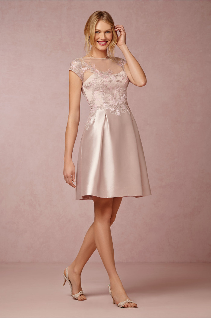 Short pale pink mother of the bride dress with sleeves