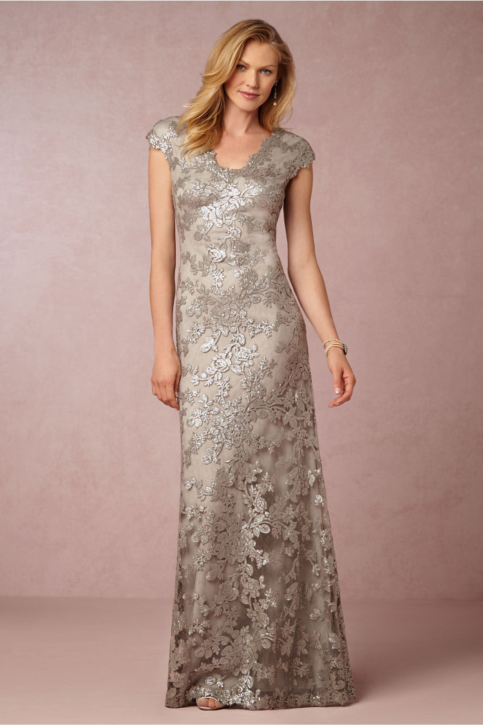 Silver beaded lace gown for MOB Veda BHLDN