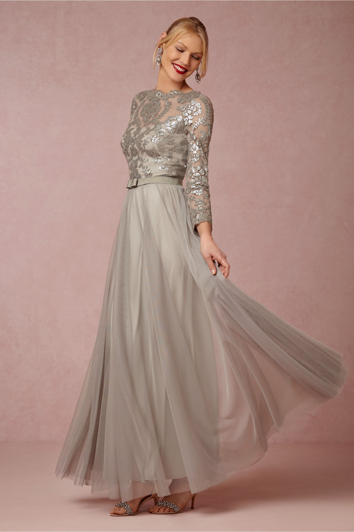 Silver beaded lace gown for MOB with sleeves