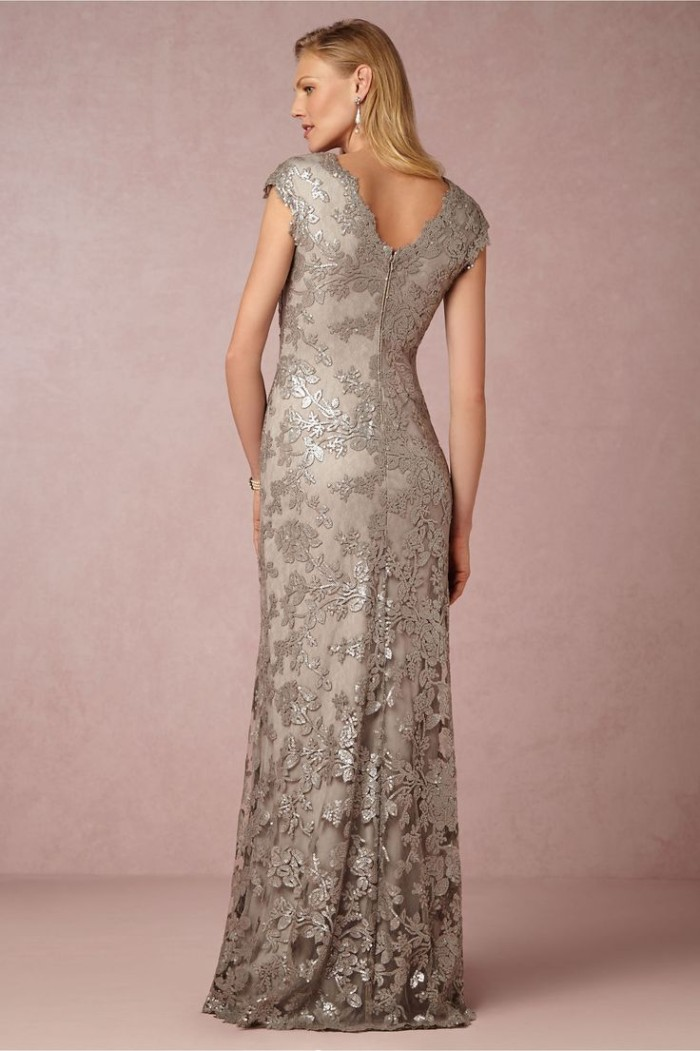 Silver beaded lace short sleeve gown for MOB