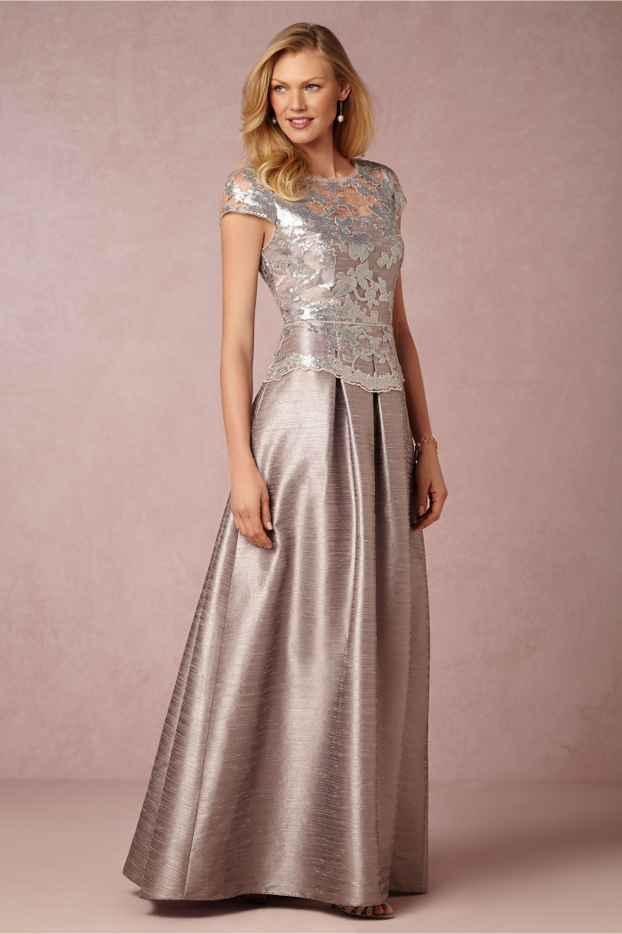 Silver beaded lace bodice ballgown for mother of the bride Chelsea Dress at BHLDN