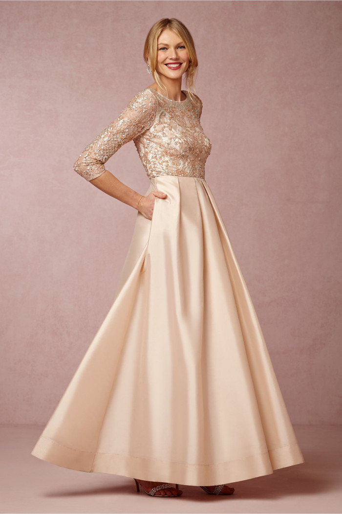 viola dress is a blush ball gown with flattering three quarter