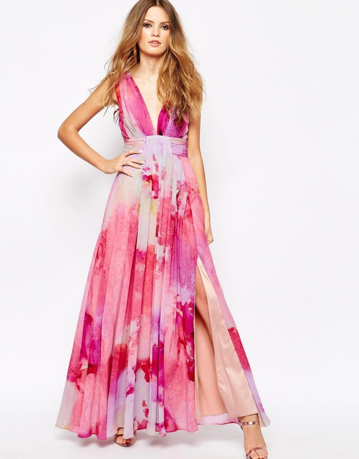 Pink watercolor print maxi dress