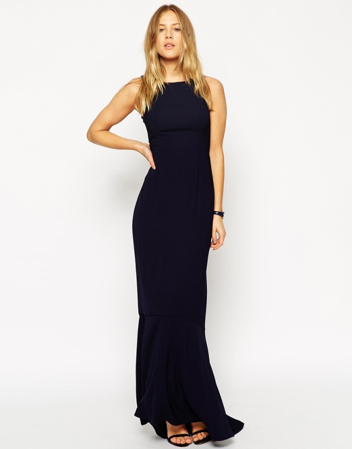 Navy blue formal gown from ASOS for a May wedding