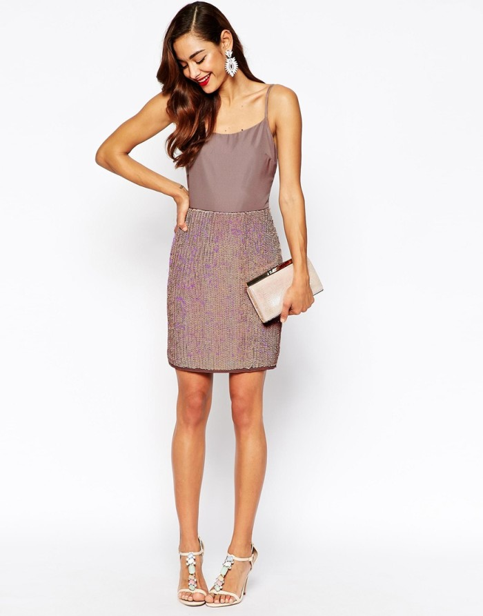 Two-piece sequin cocktail dress