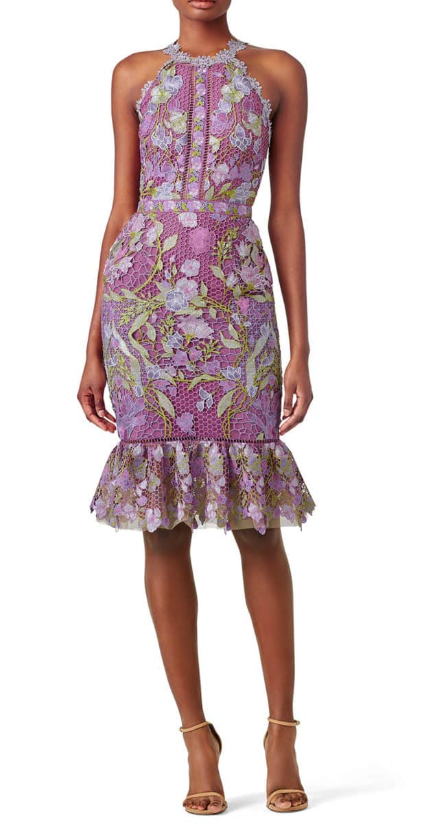 lilac lace cocktail dress