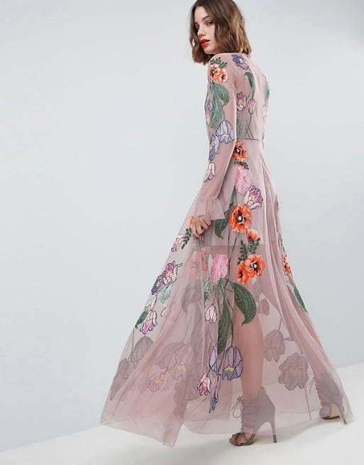 long sleeve embriodered floral mauve maxi dress