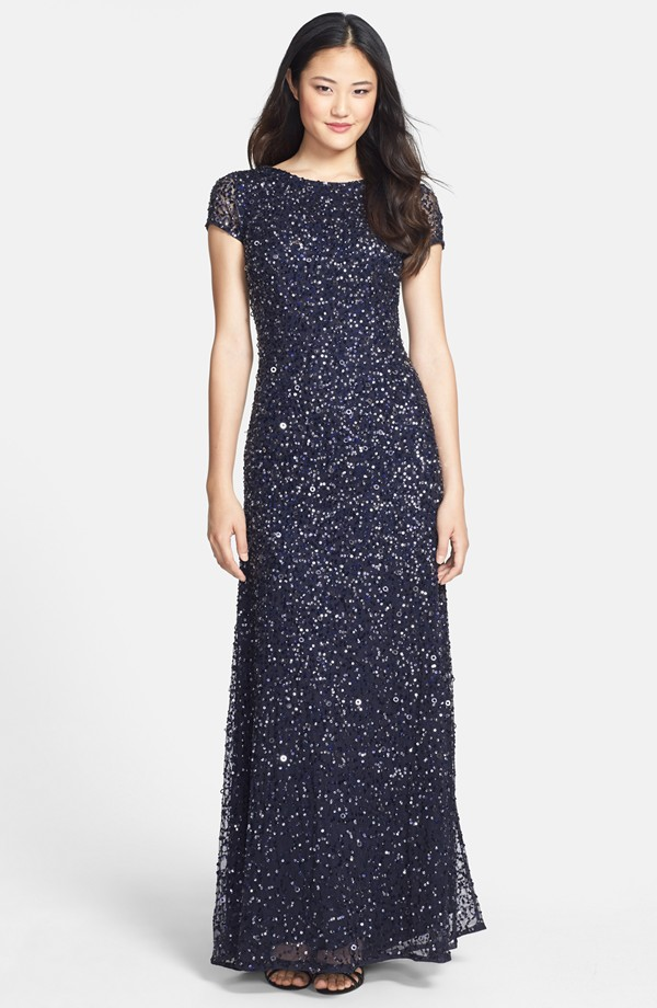 Navy blue beaded gown with short sleeves