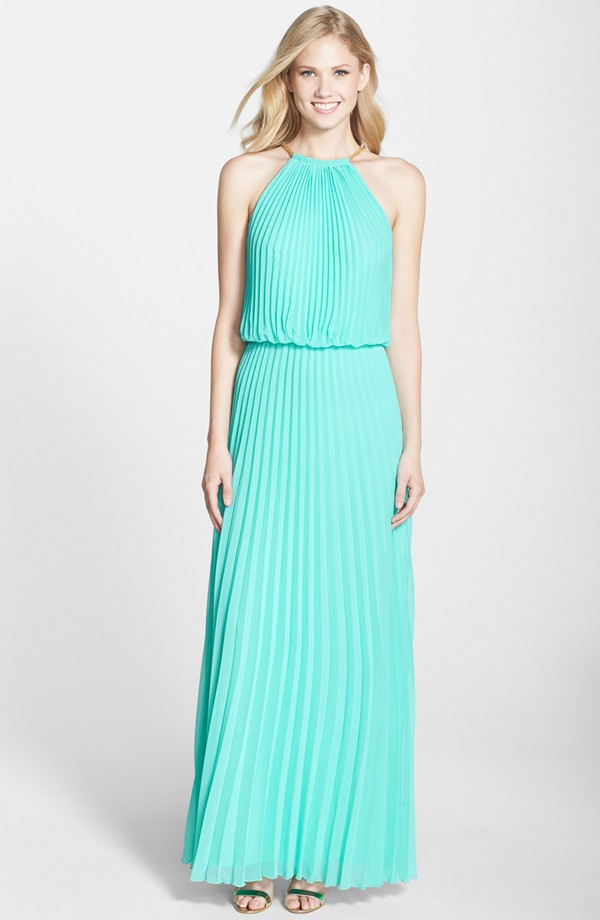 Turquoise pleated gown