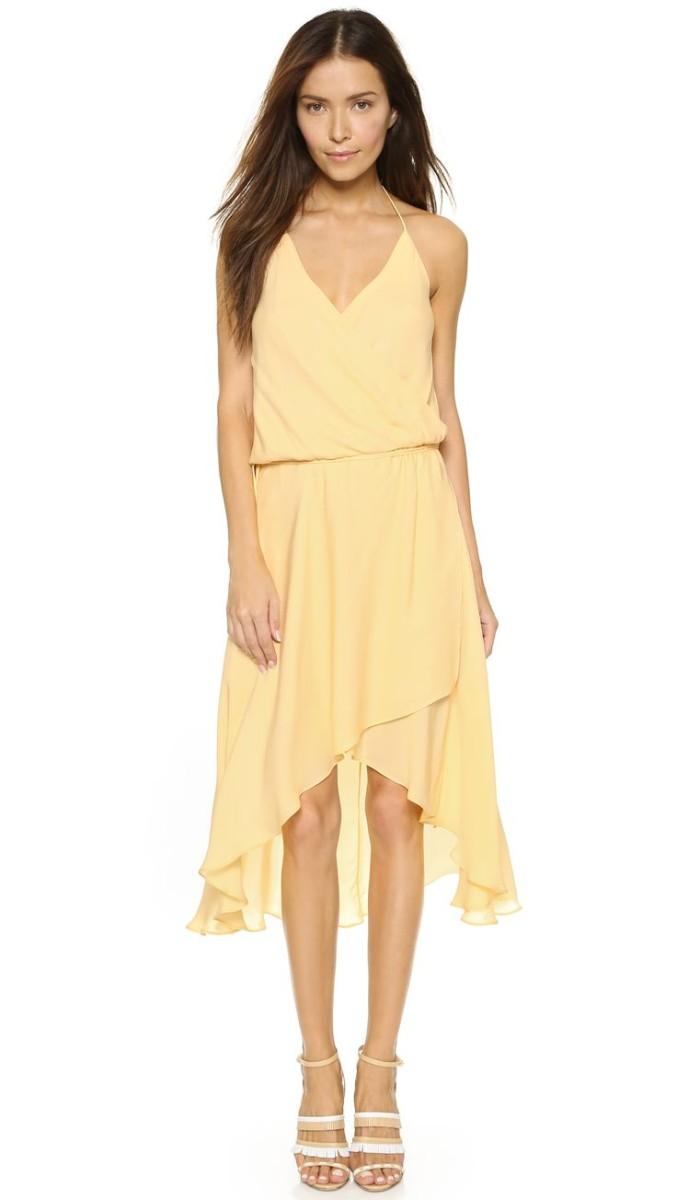 Yellow wrap dress with spaghetti straps