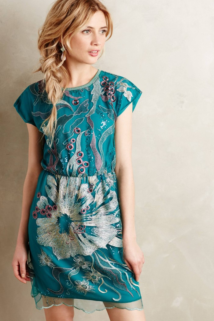 Teal Sea song dress from Anthropologie