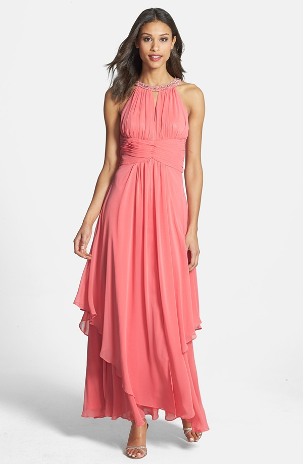 f7f7317a2b Coral mother of the bride dress for a beach wedding