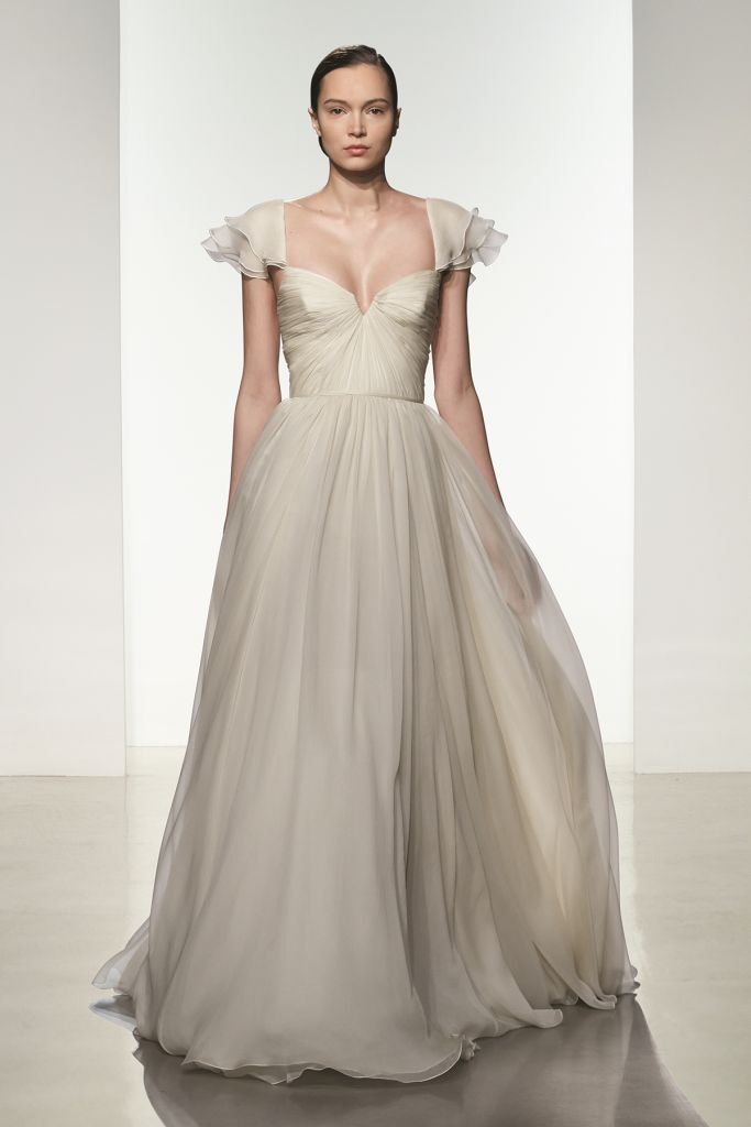 Wedding Dresses Georgia : Georgia is a pale blush silk chiffon ballgown bridal gown with