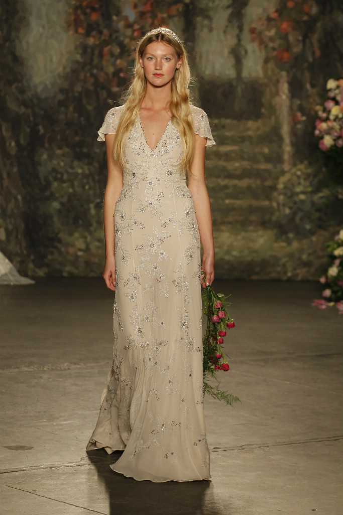 Romantic wedding dress with short sleeves and beading by Jenny Packham