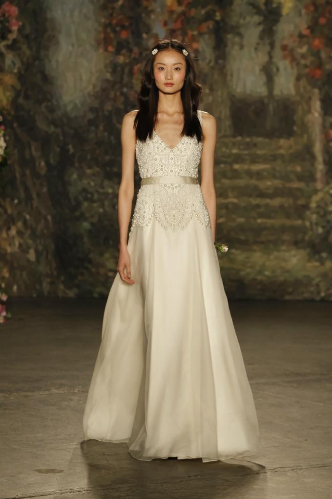 Beautifully embellished v-neck wedding dress by Jenny Packham