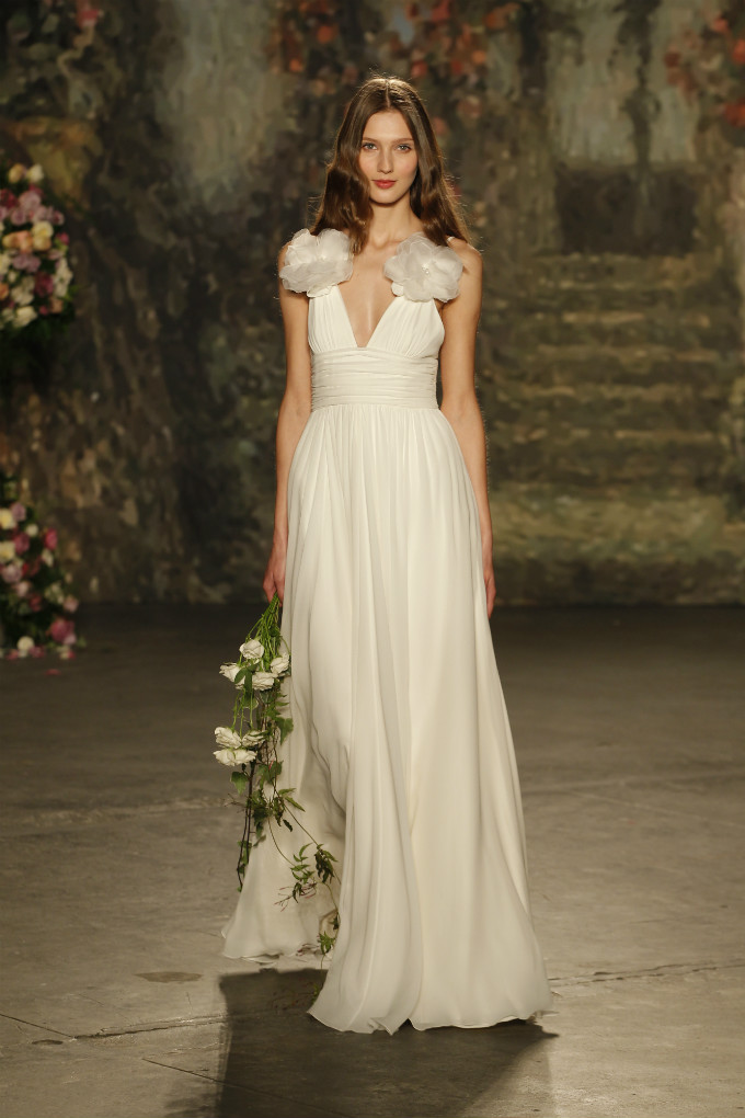 Wedding dress with organza flowers by Jenny Packham