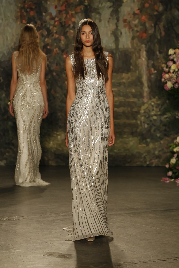 Silver sequin wedding dress for the Jenny Packham Bridal Collection 2016