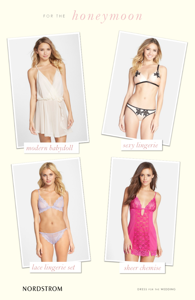 Bridal lingerie for the honeymoon from Nordstrom