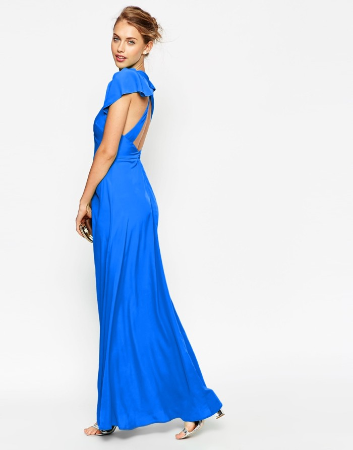 Bright blue formal gown with flutter sleeves