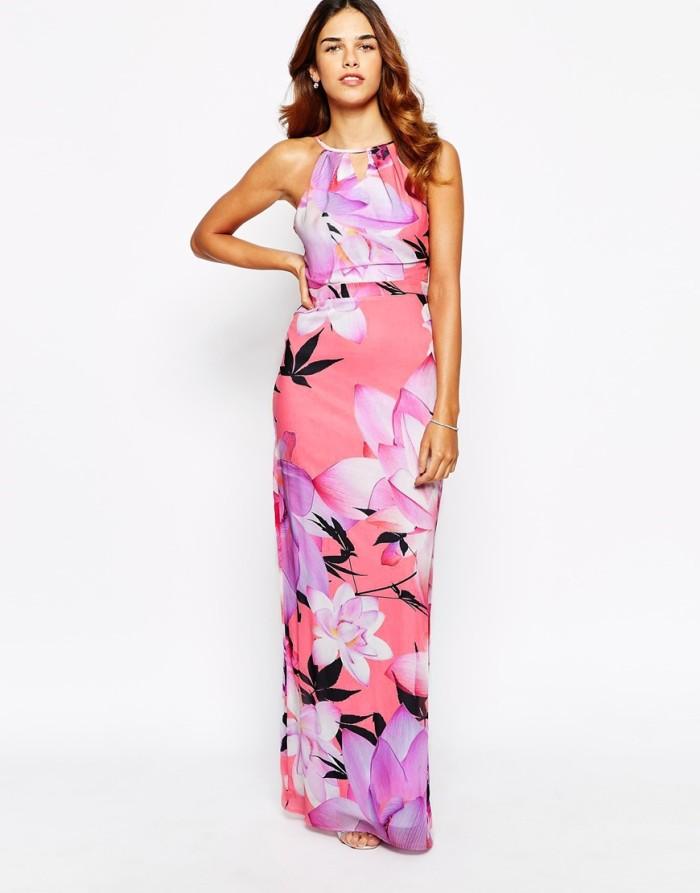 Bright floral print maxi dress