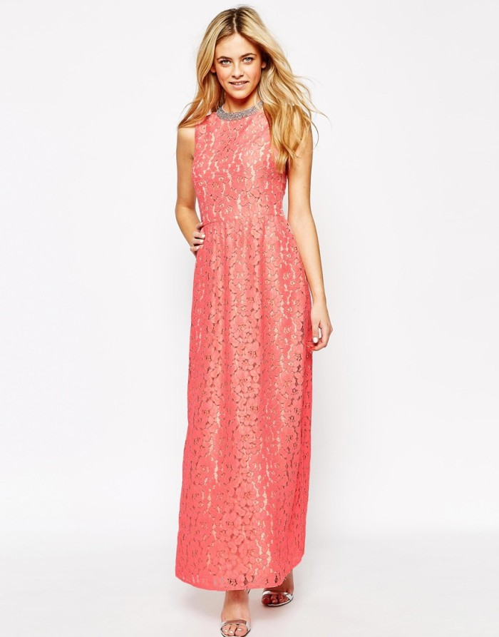 Coral lace full length gown