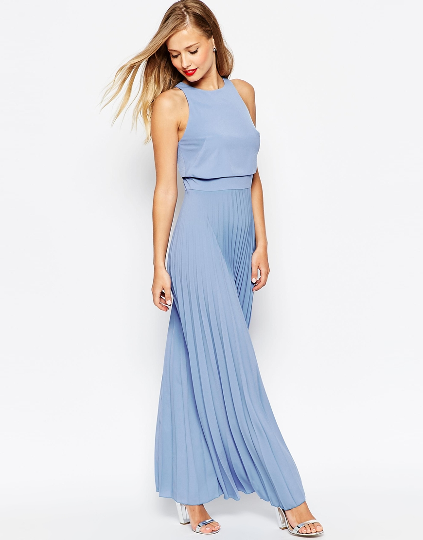 powder blue maxi dress with pleats