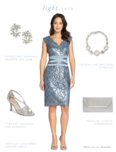 Short Blue Lace Dress for a Mother of the Bride