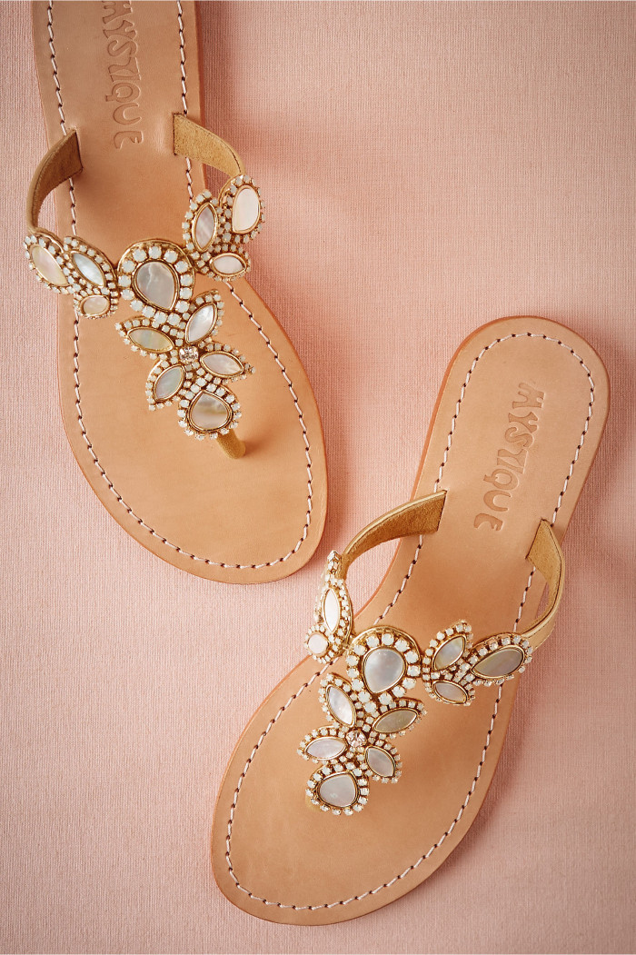 Opal embellished sandals for beach weddings from BHLDN