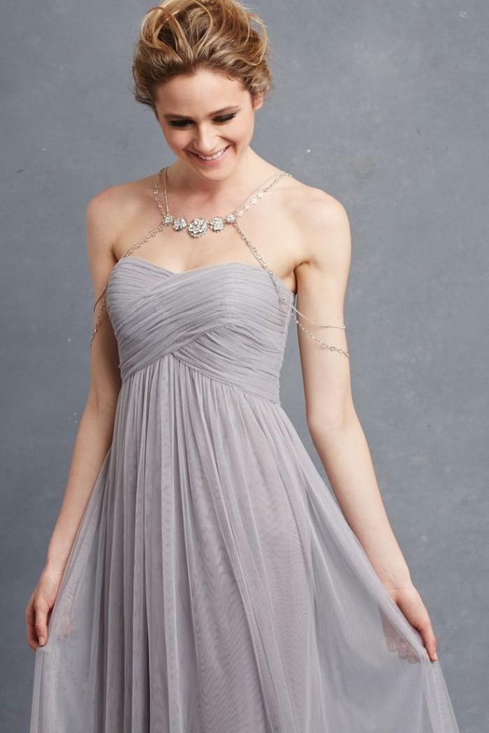 Grey bridesmaid dress detail