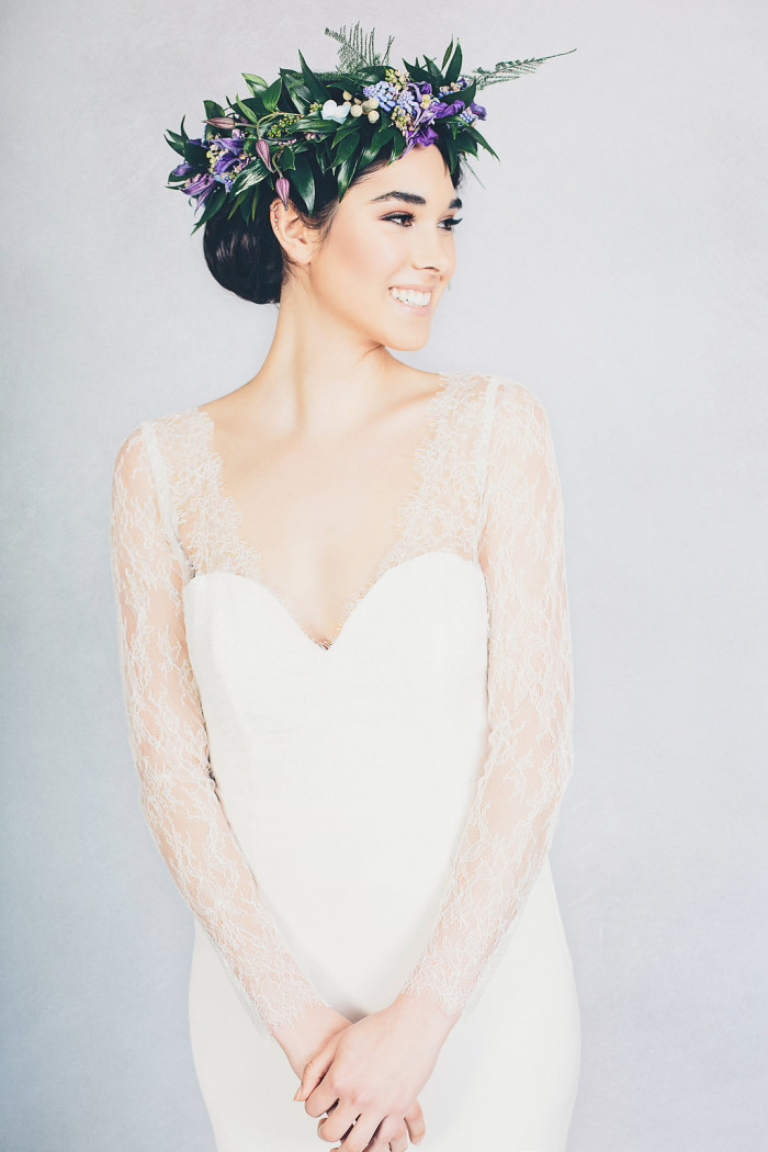 Lace long sleeve wedding dress by Elizabeth Stuart - 'Mabel' | Photography by Jessica Withey