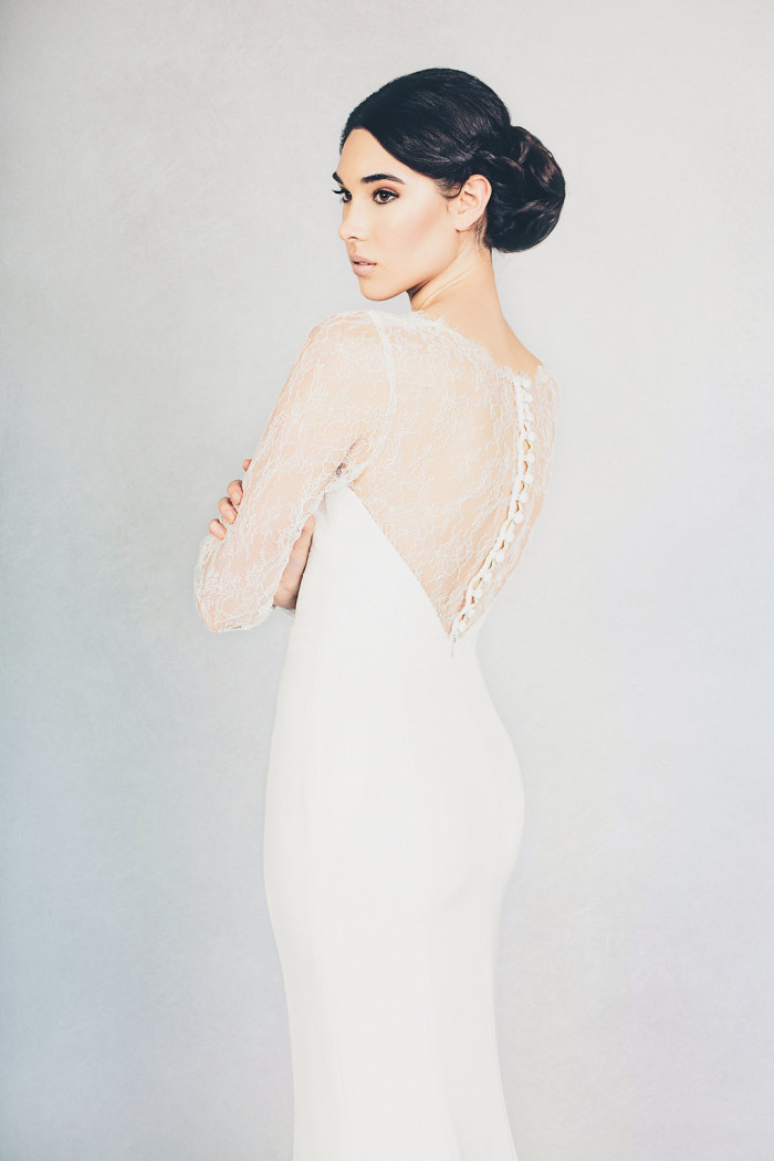 Elizabeth Stuart Lace Back Long Sleeve Wedding Dress 'Mabel' with buttons up the back | Photography by Jessica Withey