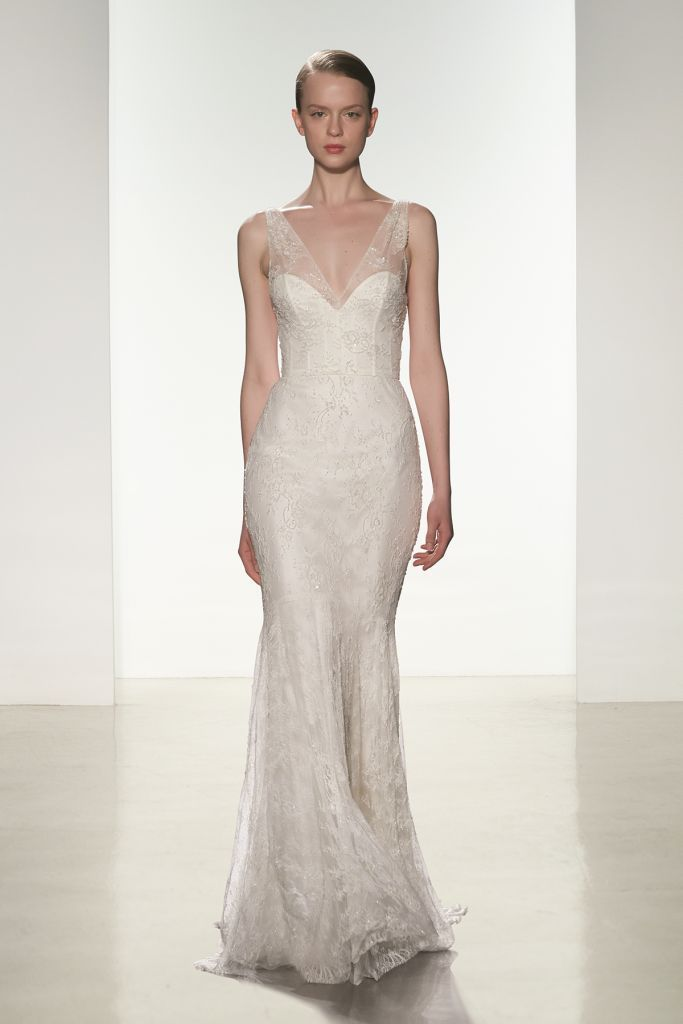 Chantilly lace beaded wedding dress | Mila Christos 2016