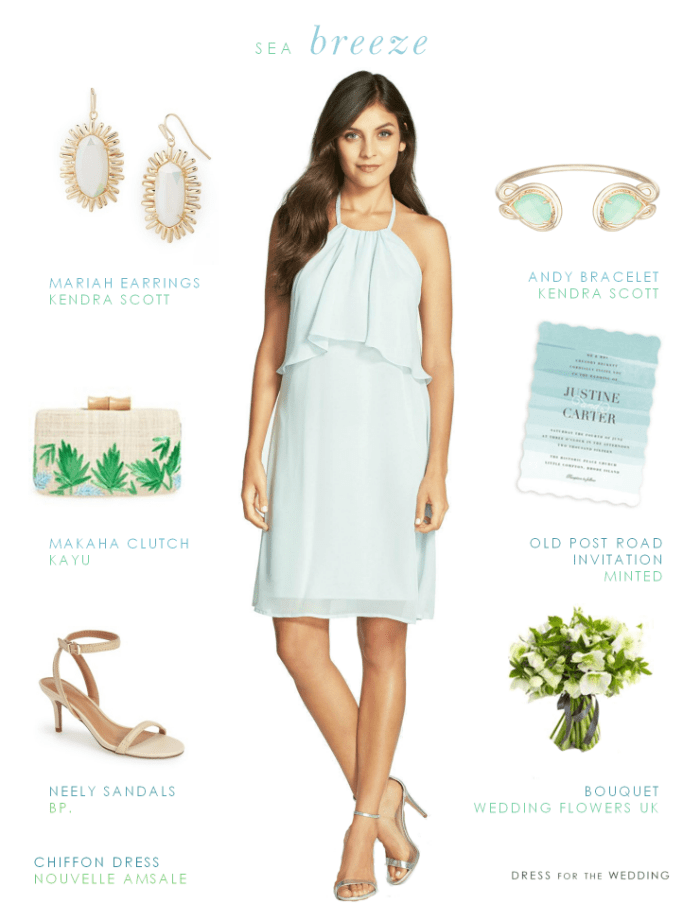 Short Blue Chiffon Dress Beach Bridesmaid Look