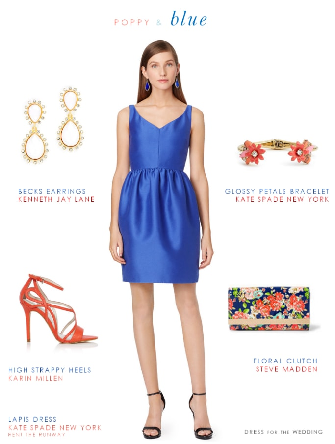 Wedding Guest Look Poppy Red and Bright Blue