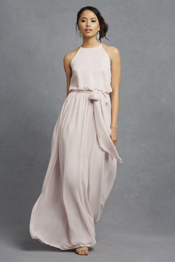 Modern flowy pale pink bridesmaid dress