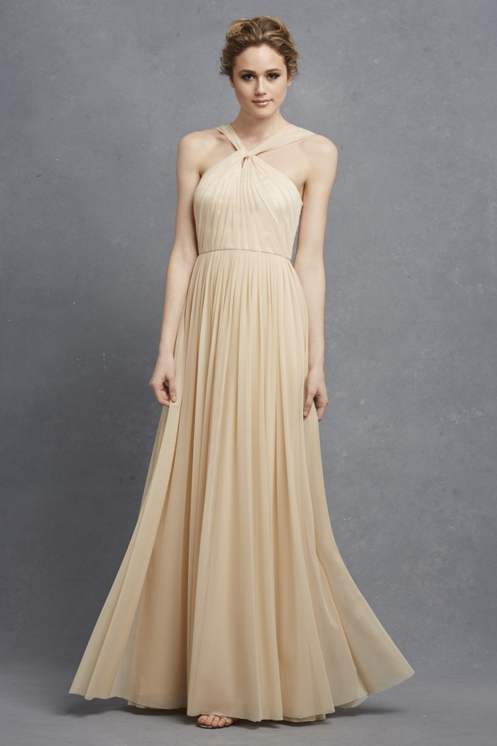 Full length neutral bridesmaid dress ' Ava' by Donna Morgan