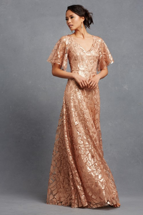 Rose gold sequin bridesmaid Dress | Camilla by Donna Morgan