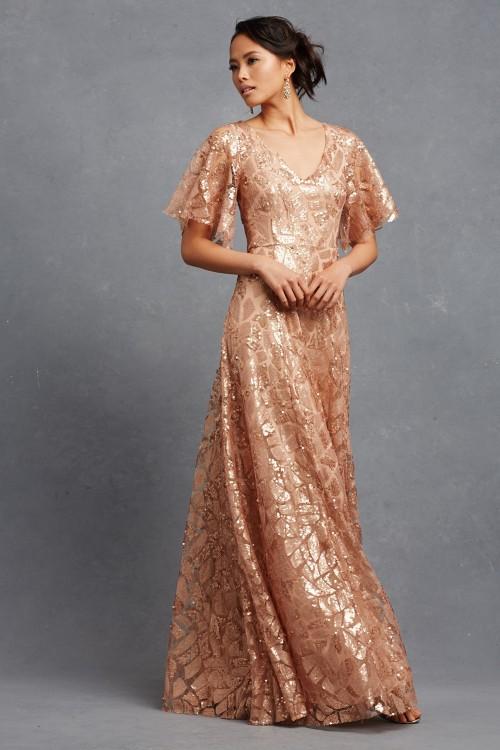 Rose gold sequin bridesmaid Dress | Camilla by Donna Morgan