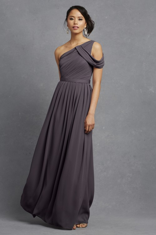 Romantic charcoal gray bridesmaid dress | Chloe by Donna Morgan