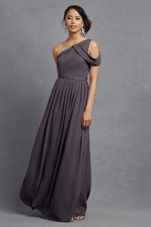 Romantic charcoal gray bridesmaid dress | Chloe by Donna Morgan