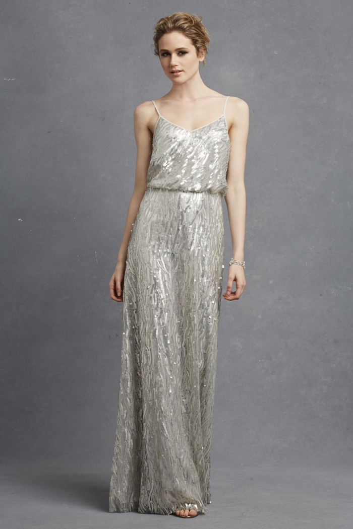 Silver sequin bridesmaid dress by Donna Morgan