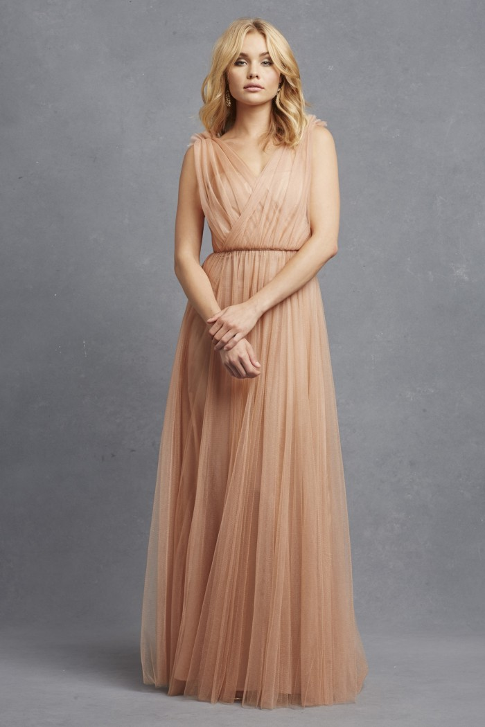 Emmy in soft blush color by Donna Morgan